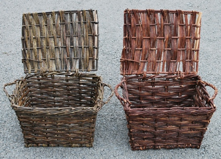 Replica (on left) of traditional French oyster basket