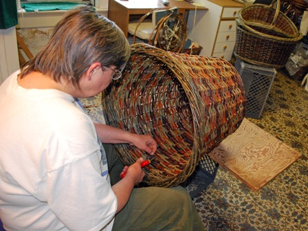 Trimming the ends inside the basket.