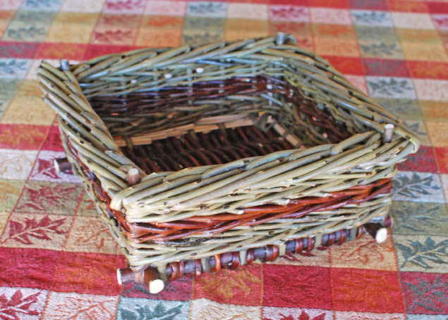 willow basket for keys and wallet