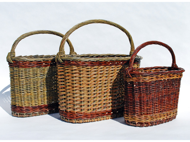 three magazine baskets