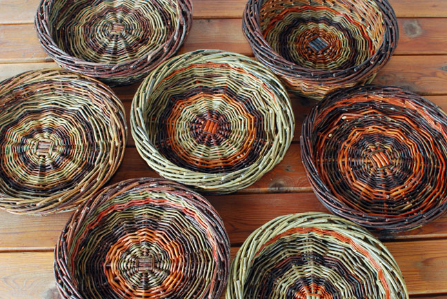 small colorful willow baskets