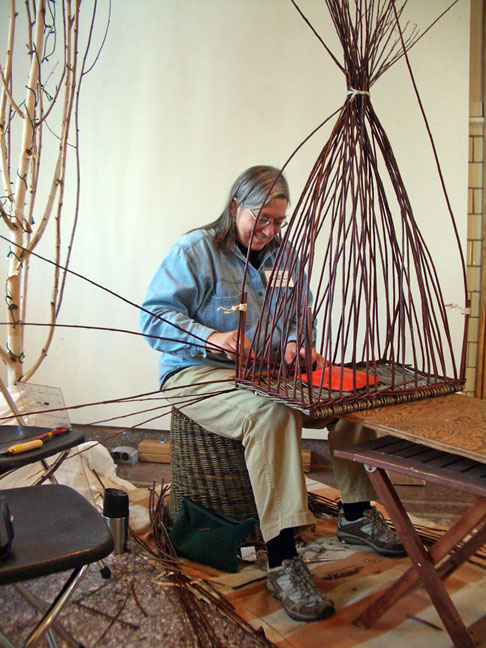Katherine Lewis weaving willow basket