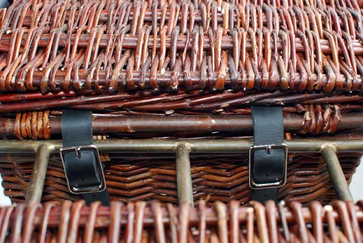 willow basket bicycle panniers by Katherine Lewis