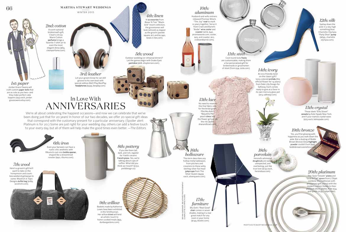 anniversary gifts by year from Martha Stewart Weddings magazine