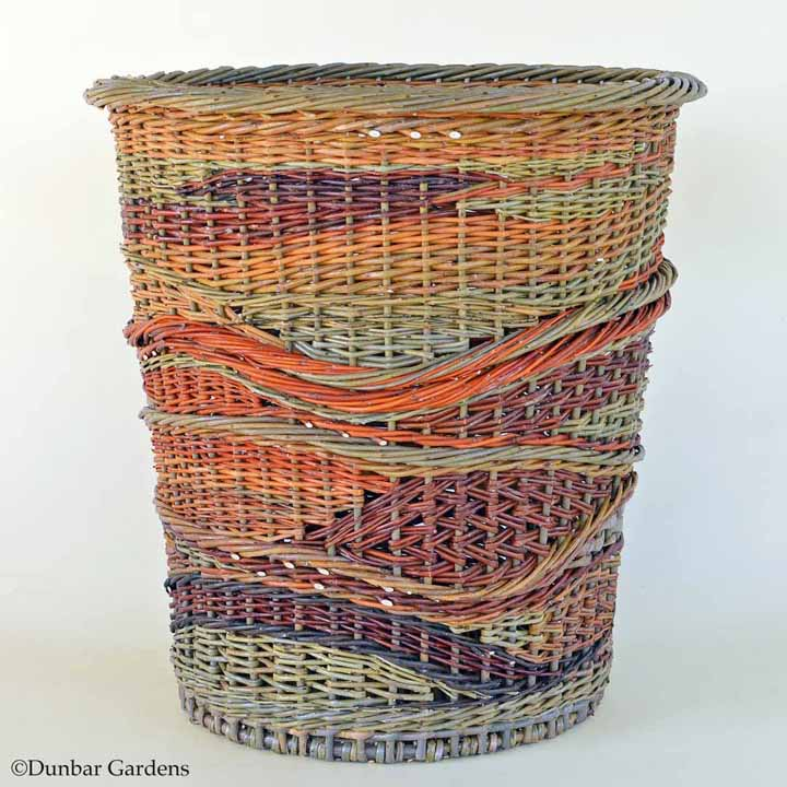 "Katherine Lewis willow basket ""Crazy Quilt"""